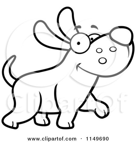 Cartoon Clipart Of A Black And White Happy Max Dog Character Walking - Vector Outlined Coloring Page by Cory Thoman