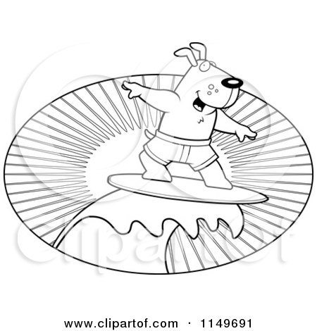 Cartoon Clipart Of A Black And White Surfer Dog Riding a Wave at Sunset - Vector Outlined Coloring Page by Cory Thoman