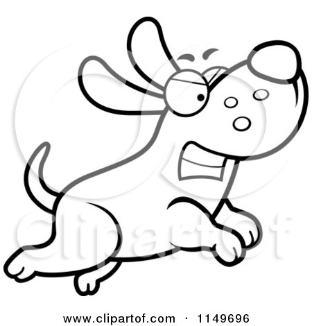 Cartoon Clipart Of A Black And White Angry Max Dog Character Chasing - Vector Outlined Coloring Page by Cory Thoman
