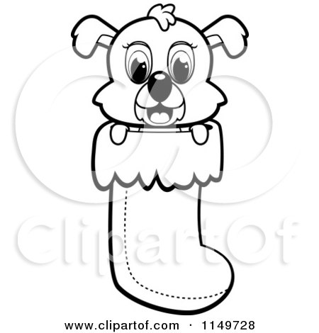 Cartoon Clipart Of A Black And White Cute Puppy Dog Peeping out of a Christmas Stocking - Vector Outlined Coloring Page by Cory Thoman