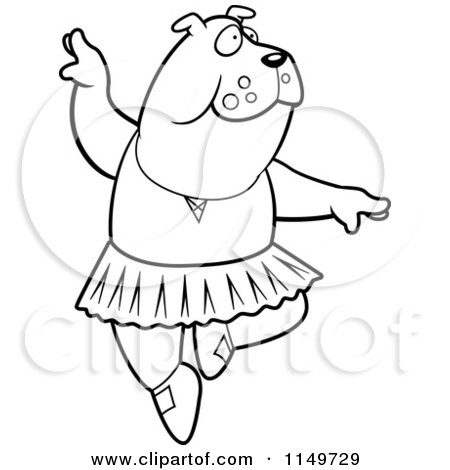 Cartoon Clipart Of A Black And White White Ballerina Bulldog in a Tutu - Vector Outlined Coloring Page by Cory Thoman