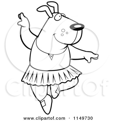 Cartoon Clipart Of A Black And White Ballerina Dog Dancing - Vector Outlined Coloring Page by Cory Thoman