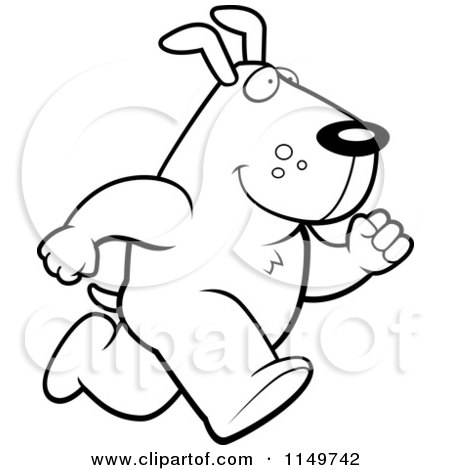 Cartoon Clipart Of A Black And White Max Dog Character Running - Vector Outlined Coloring Page by Cory Thoman