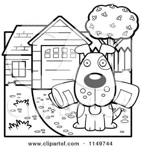 Cartoon Clipart Of A Black And White Dog Sitting in a Driveway with a Newspaper in His Mouth - Vector Outlined Coloring Page by Cory Thoman