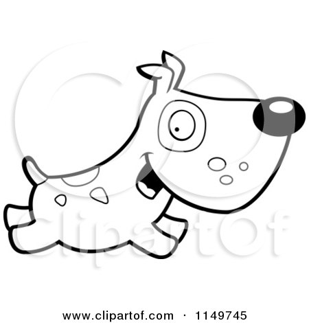 Cartoon Clipart Of A Black And White Dog with Spots ...