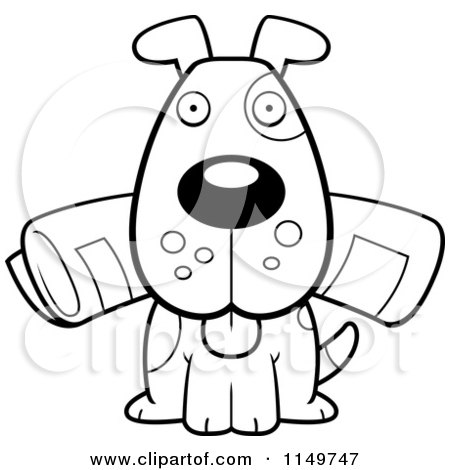 Cartoon Clipart Of A Black And White Dog Sitting With The