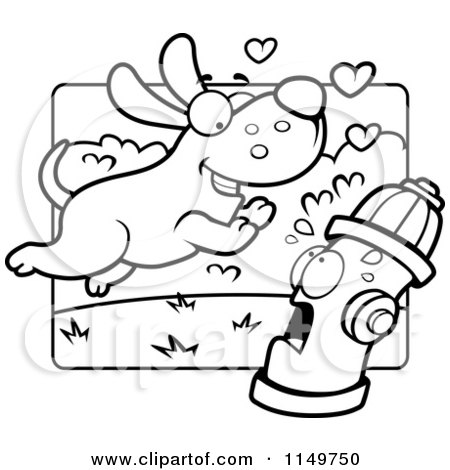 Cartoon Clipart Of A Black And White Amorous Max Dog Character