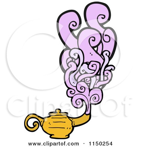 Cartoon of a Magic Genie Oil Lamp - Royalty Free Vector Clipart by lineartestpilot