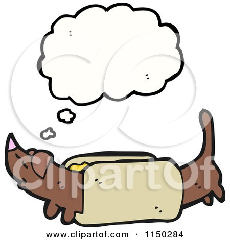 Cartoon of a Thinking Weiner Dog in a Bun - Royalty Free Vector Clipart by lineartestpilot