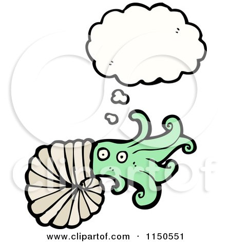 Cartoon of a Thinking Squid Nautilus - Royalty Free Vector Clipart by lineartestpilot