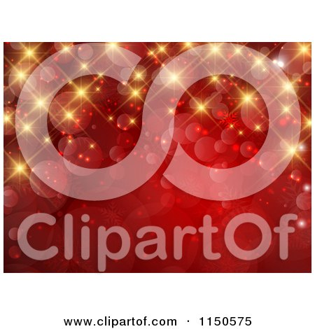 Clipart of a Red Christmas Background with Gold Bokeh Lights and Twinkles - Royalty Free Vector Clipart by KJ Pargeter