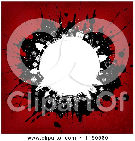Clipart of a Grungy Christmas Globe Background with Splatters - Royalty Free Vector Clipart by KJ Pargeter