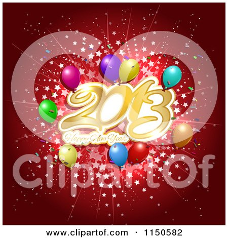 Clipart of a Red Happy New Year 2013 Background with Stars and Balloons - Royalty Free Vector Clipart by KJ Pargeter