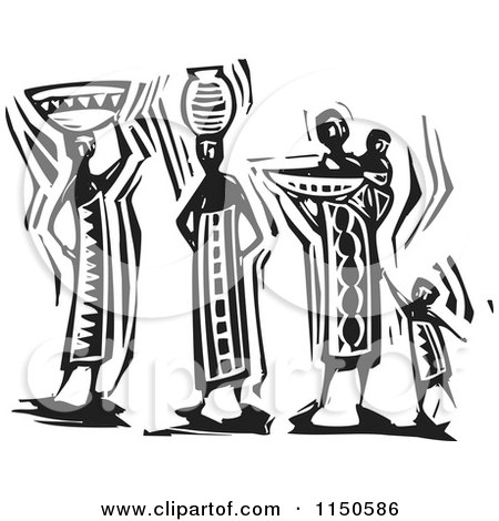 Clipart of Black and White Woodcut Maasai Women and Child - Royalty Free Clipart by xunantunich