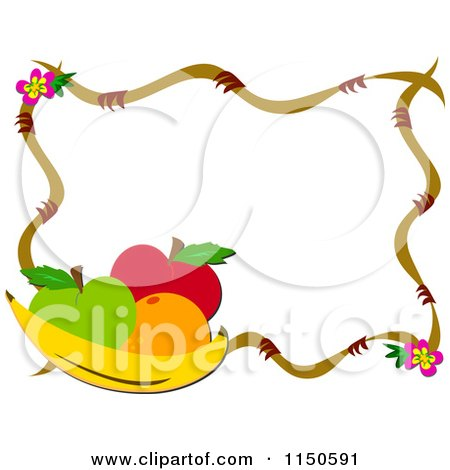 Cartoon of a Frame of Fruit and Flowers - Royalty Free Vector Clipart by bpearth