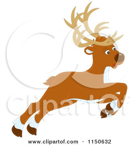 Cartoon of a Leaping or Flying Christmas Reindeer - Royalty Free Vector Clipart by Alex Bannykh