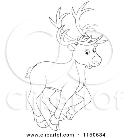 Cartoon of an Outlined Walking Christmas Reindeer - Royalty Free Vector Clipart by Alex Bannykh