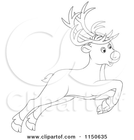Cartoon of an Outlined Leaping or Flying Christmas Reindeer - Royalty Free Vector Clipart by Alex Bannykh