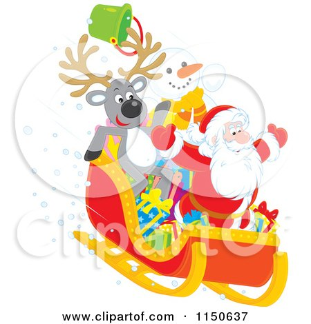 Cartoon of a Reindeer Snowman and Santa Riding Downhill in a Sleigh - Royalty Free Vector Clipart by Alex Bannykh