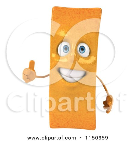 Clipart of a 3d Happy French Fry Mascot Holding a Thumb up - Royalty Free CGI Illustration by Julos