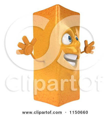 Clipart of a 3d Happy French Fry Mascot Jumping - Royalty Free CGI Illustration by Julos