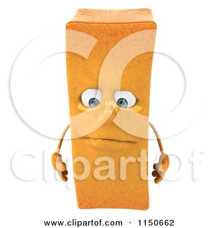 Clipart of a 3d Pouting French Fry Mascot - Royalty Free CGI Illustration by Julos