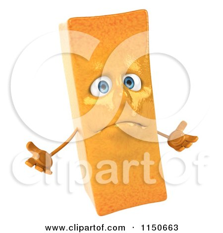 Clipart of a 3d Shrugging French Fry Mascot - Royalty Free CGI Illustration by Julos