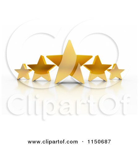 Clipart of 3d Excellent Rating Five Gold Stars - Royalty Free CGI Illustration by stockillustrations