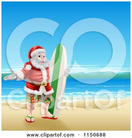 Cartoon of a Surfer Santa on a Beach - Royalty Free Vector Clipart by AtStockIllustration