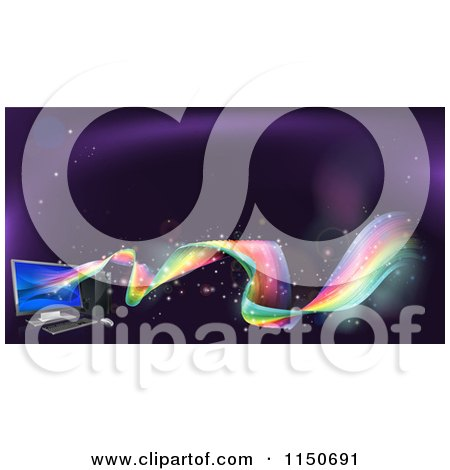 Clipart of a Desktop Computer with Rainbow Waves - Royalty Free Vector Clipart by AtStockIllustration