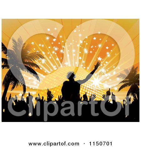 Clipart of a Silhouetted Dj Dancers and Palm Trees Against a Disco Ball Sunset - Royalty Free Vector Clipart by elaineitalia