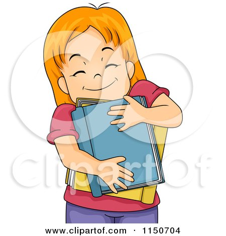 Cartoon of a Happy Red Haired Girl Hugging Books - Royalty Free Vector Clipart by BNP Design Studio