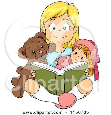 Cartoon of a Happy Blond Girl Reading a Book with Her Teddy Bear and Doll - Royalty Free Vector Clipart by BNP Design Studio