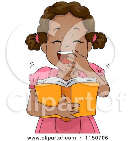 Cartoon of a Black Girl Laughing and Reading a Book - Royalty Free Vector Clipart by BNP Design Studio