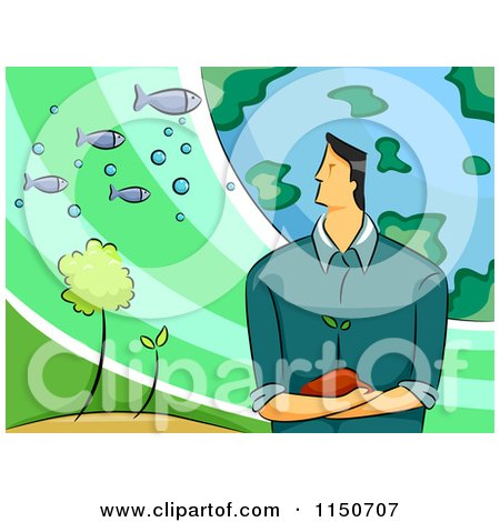 Cartoon of a Environmental Scientist Man with the Earth Plants and Fish - Royalty Free Vector Clipart by BNP Design Studio