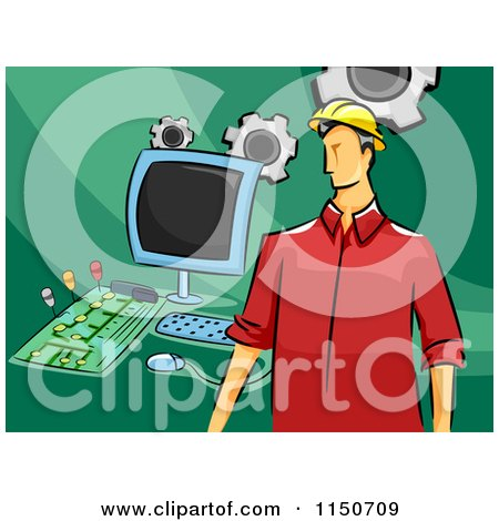 Cartoon of a Male Computer Engineer with Parts - Royalty Free Vector Clipart by BNP Design Studio
