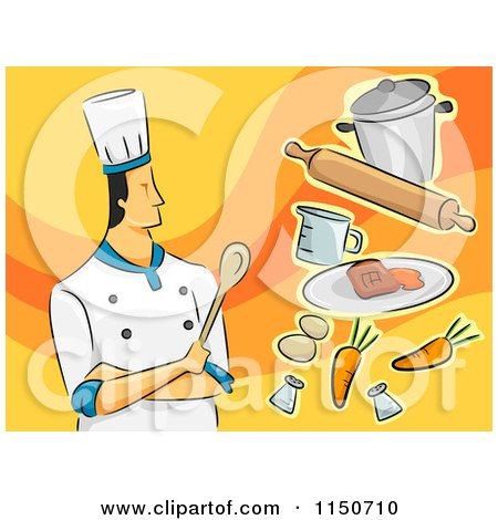 Cartoon of a Male Chef with Food - Royalty Free Vector Clipart by BNP Design Studio