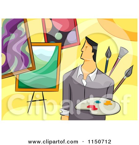 Cartoon of a Male Artist with Paintings - Royalty Free Vector Clipart by BNP Design Studio