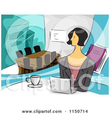Cartoon of a Businesswoman with a Laptop in an Office - Royalty Free Vector Clipart by BNP Design Studio