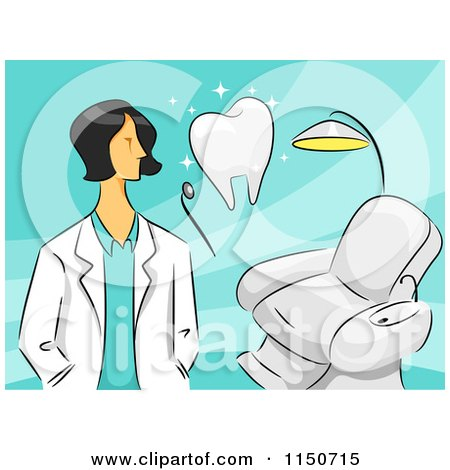 Cartoon of a Female Dentist with a Tooth and Chair - Royalty Free Vector Clipart by BNP Design Studio