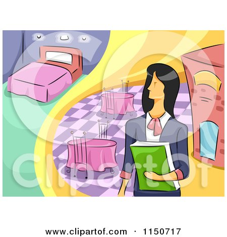 Cartoon of a Female Hotel and Restaurant Manager - Royalty Free Vector Clipart by BNP Design Studio