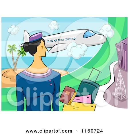 Cartoon of a Stewardess with Documents and Luggage Under a Plane - Royalty Free Vector Clipart by BNP Design Studio