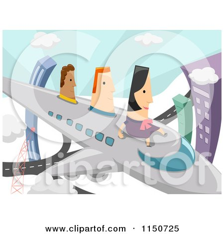 Cartoon of a Woman and Men Flying on an Airplane - Royalty Free Vector Clipart by BNP Design Studio