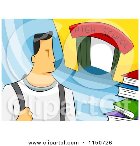Cartoon of a High School Boy - Royalty Free Vector Clipart by BNP Design Studio