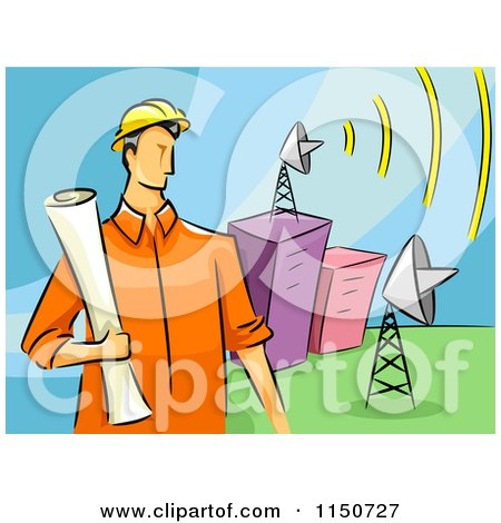 Cartoon of a Communications Engineer Man with Satellite Dishes - Royalty Free Vector Clipart by BNP Design Studio