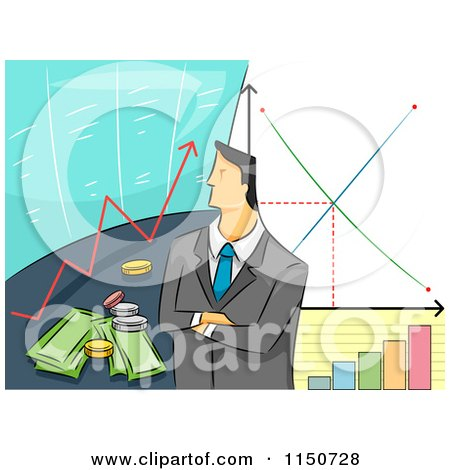 Cartoon of a Businessman with Stock Graphs and Financial Charts - Royalty Free Vector Clipart by BNP Design Studio