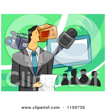 Cartoon of a Televison Host with a Microphone Camera and Monitor - Royalty Free Vector Clipart by BNP Design Studio