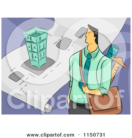 Cartoon of a Male Architect with a Bag and Blueprints - Royalty Free Vector Clipart by BNP Design Studio