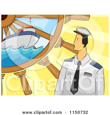 Cartoon of a Sailor With A Ship And Helm - Royalty Free Vector Clipart by BNP Design Studio