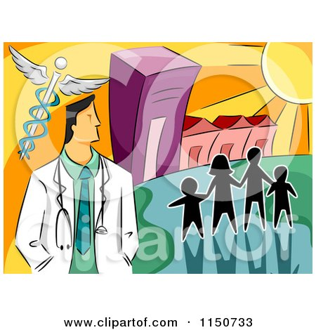 Cartoon of a Silhouetted Family and a Doctor with a Caduceus by a Hospital - Royalty Free Vector Clipart by BNP Design Studio